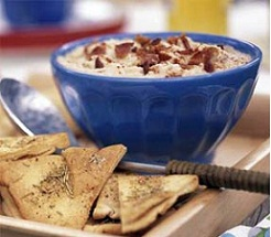 White Bean & Bacon Dip with Rosemary Pita Chips