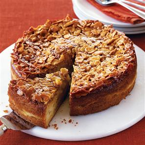 P is for Pear and Almond Cake with Almond Crunch Topping