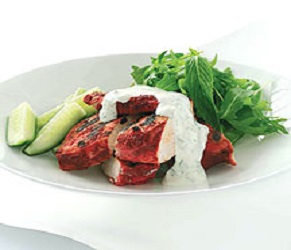 Chicken Tandoori with Mint, Cucumber and Coriander Salad