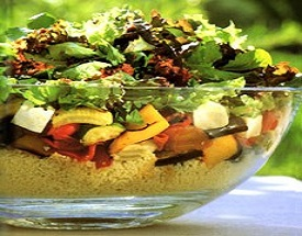 Roasted Vegetable Couscous Salad with Harissa style dressing
